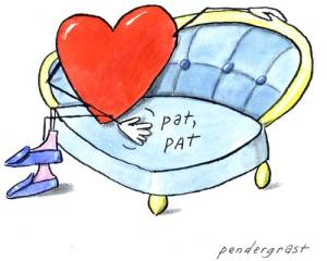 heart on love seat